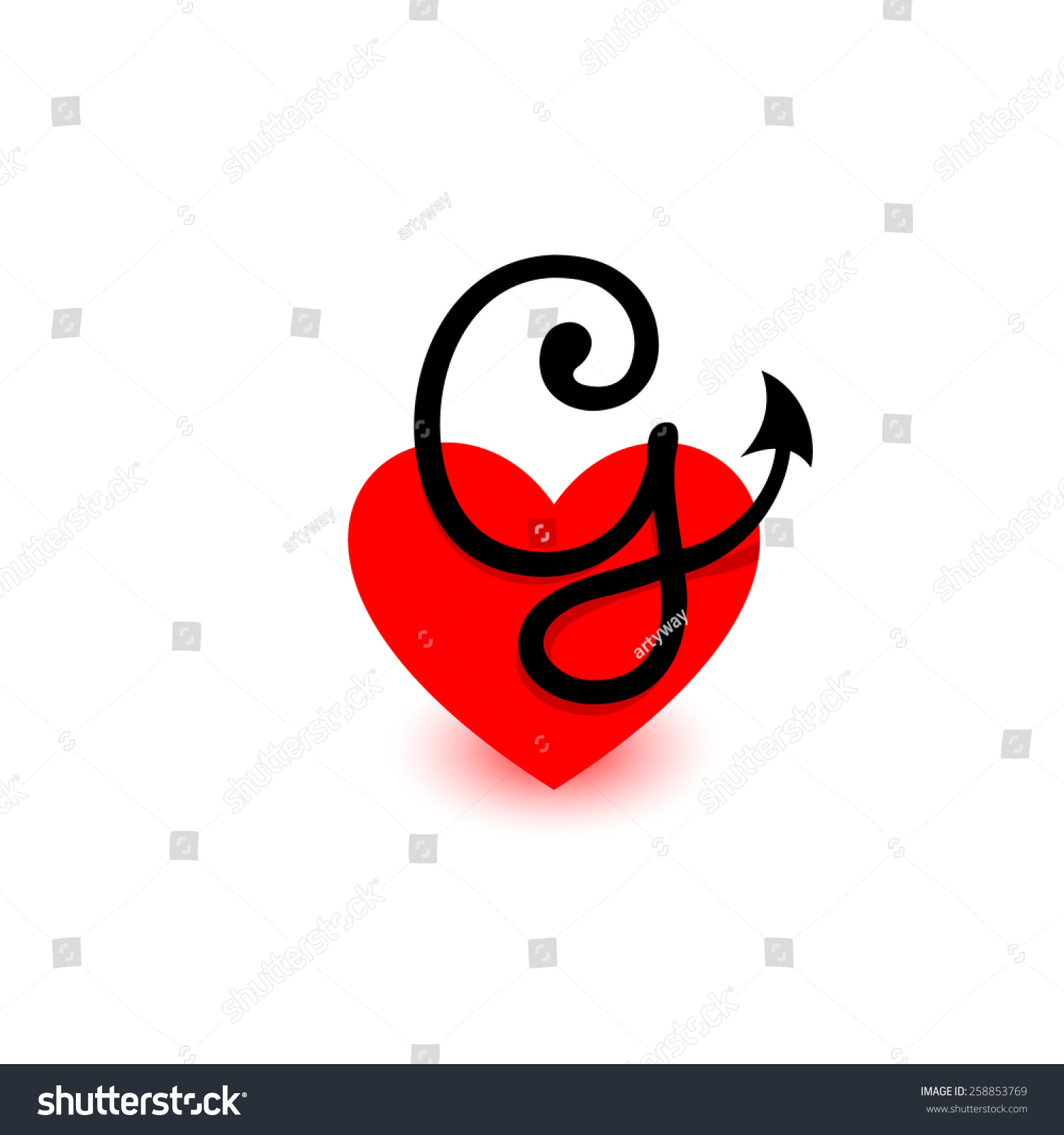 Logo Heart Letter G Beautiful Vector Stock Vector Royalty Free