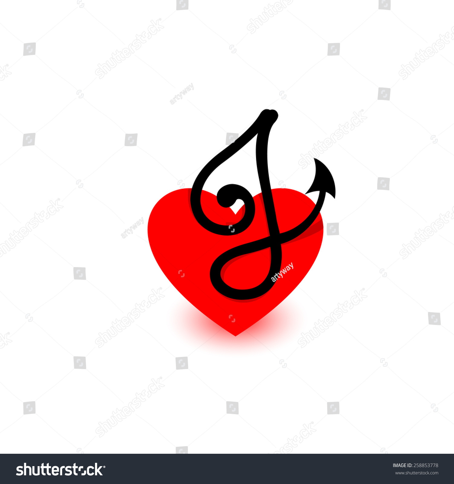 Logo Heart Letter J Beautiful Vector Stock Vector Royalty Free