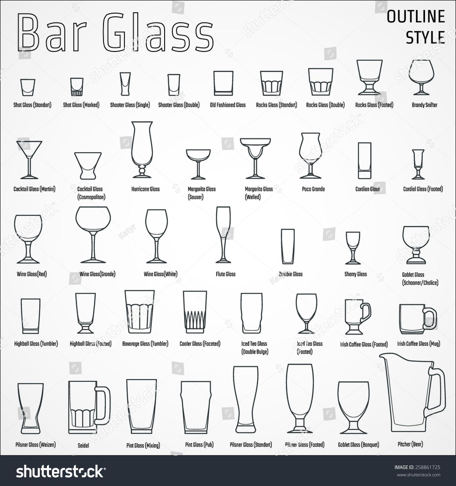 vector illustration outline silhouette set bar stock vector  - vector illustration of outline silhouette set of bar glass for designwebsite background