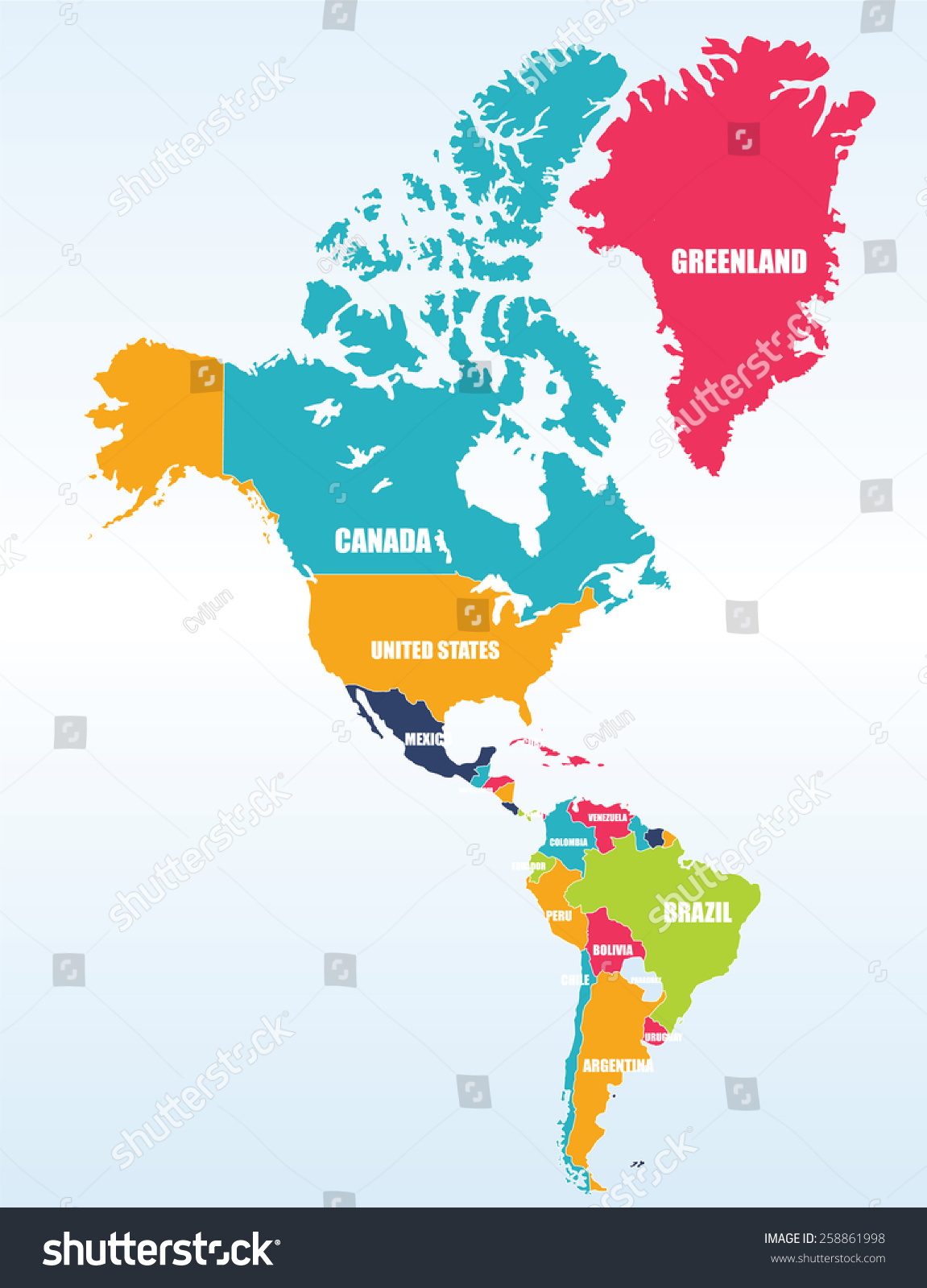 Map South North America Countries Capitals Stock Vector - Map of canada usa and south america