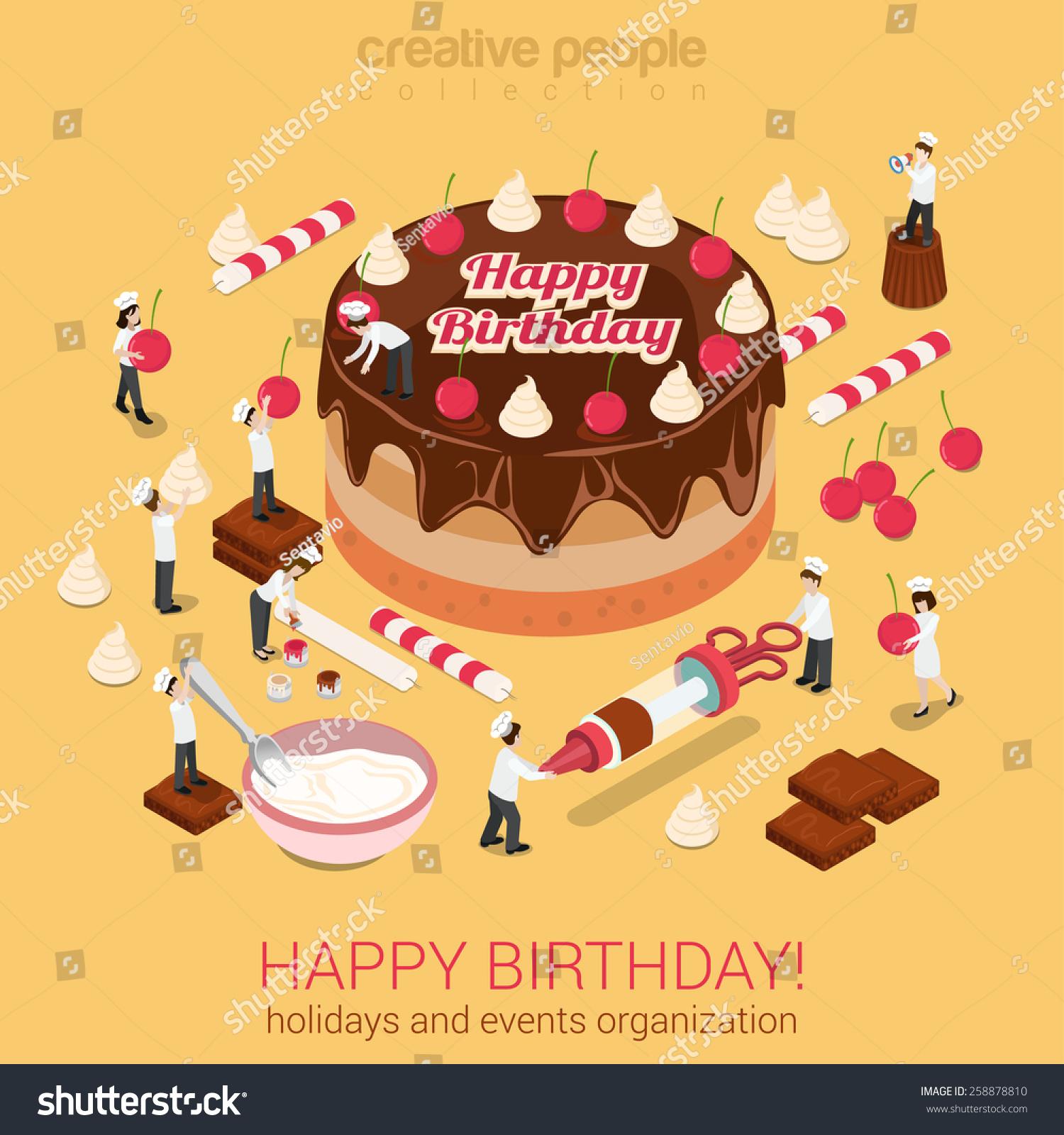 Happy Birthday Cake Chocolate Cream Tart Stock Vector Royalty Free