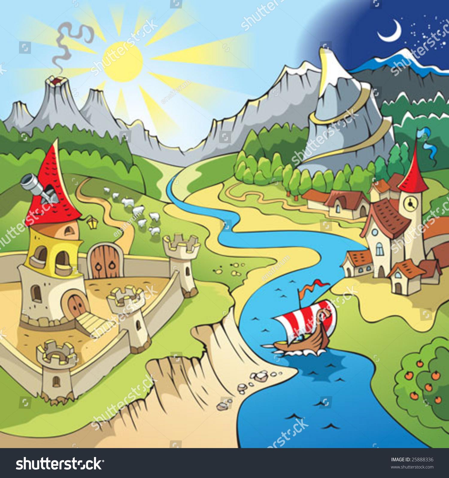 Town Landscape Vector Illustration: Fairy Tale Landscape Wonder Land Castle Stock Vector