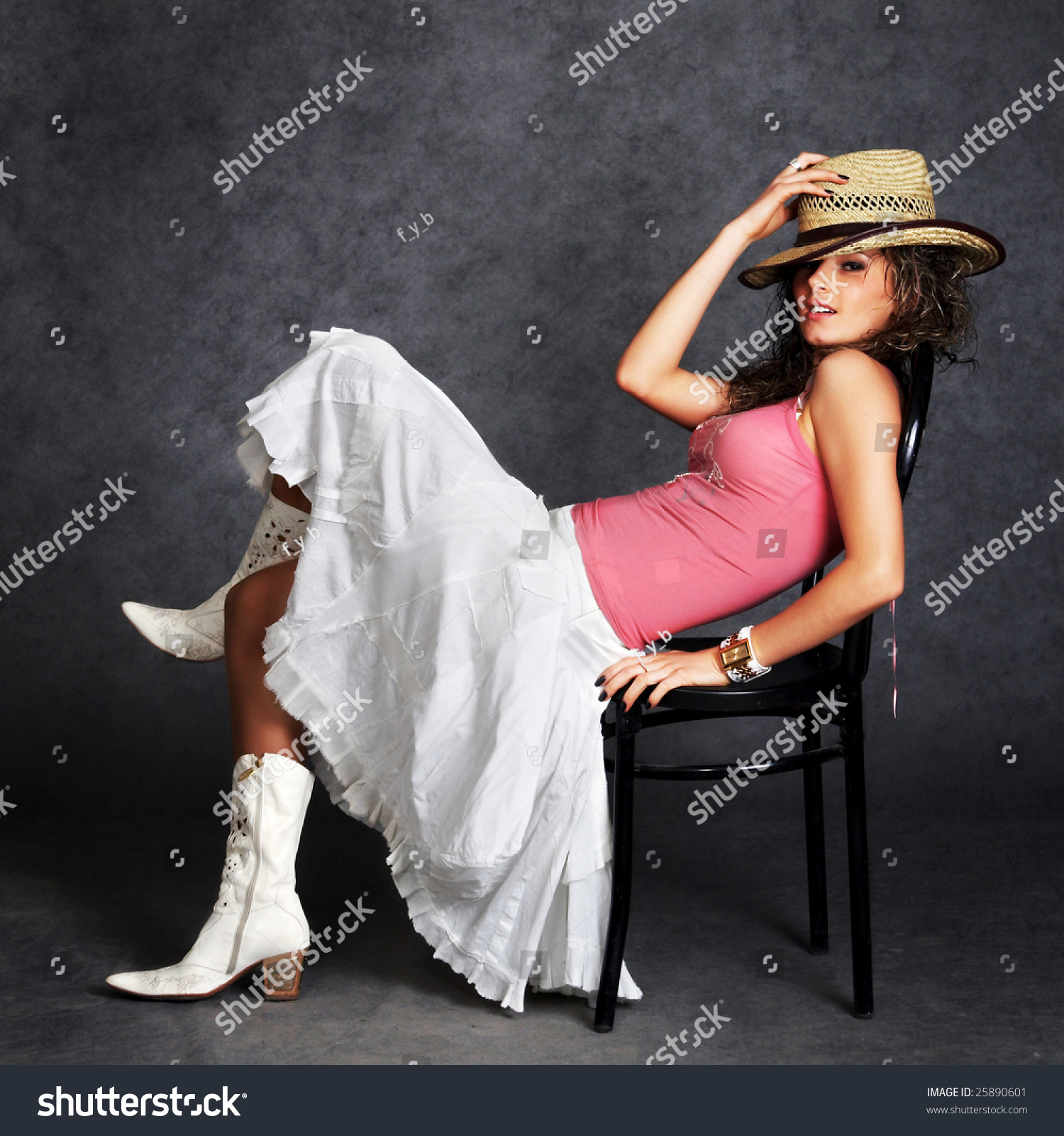 Super Sexy Cowgirl Boots Cowboy Hat Stock Photo 25890601 ...