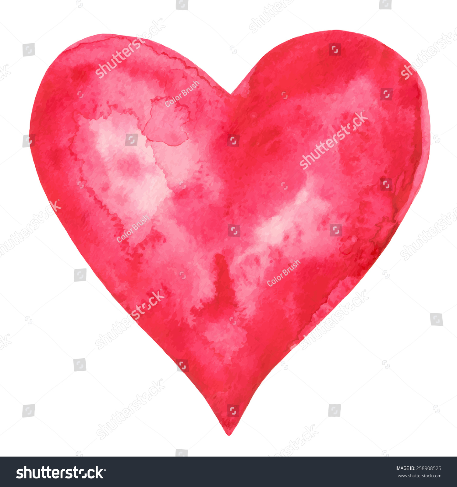 Watercolor Red Heart Icon Splash Closeup Stock-Vektorgrafik ...