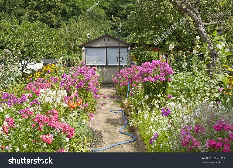 Little garden house - Beautiful Cottage Garden Scene With A Little Garden House A Path Lots Of Flowers