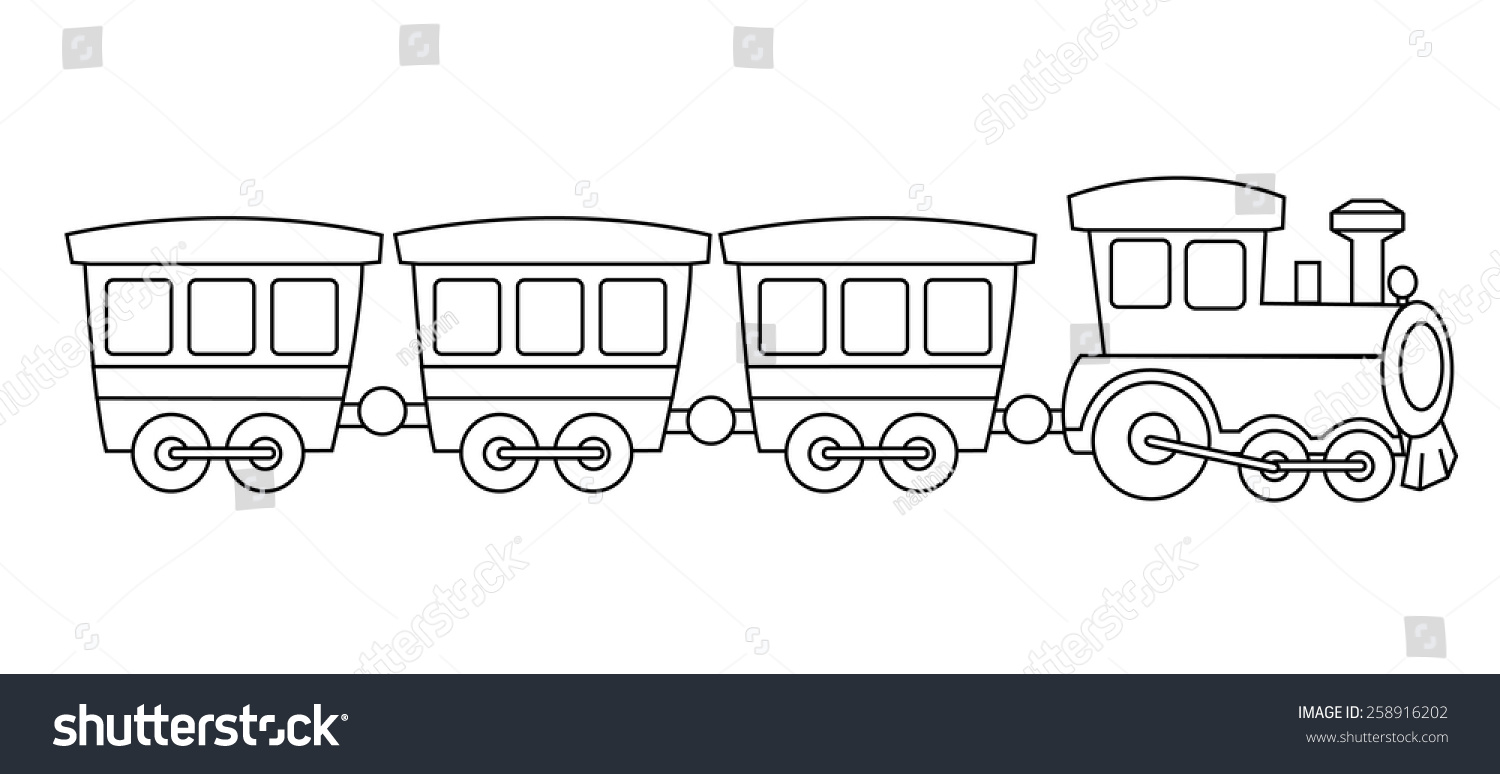 Kids Toy Train Coloring Book Graphic Stock Vector 258916202 ...