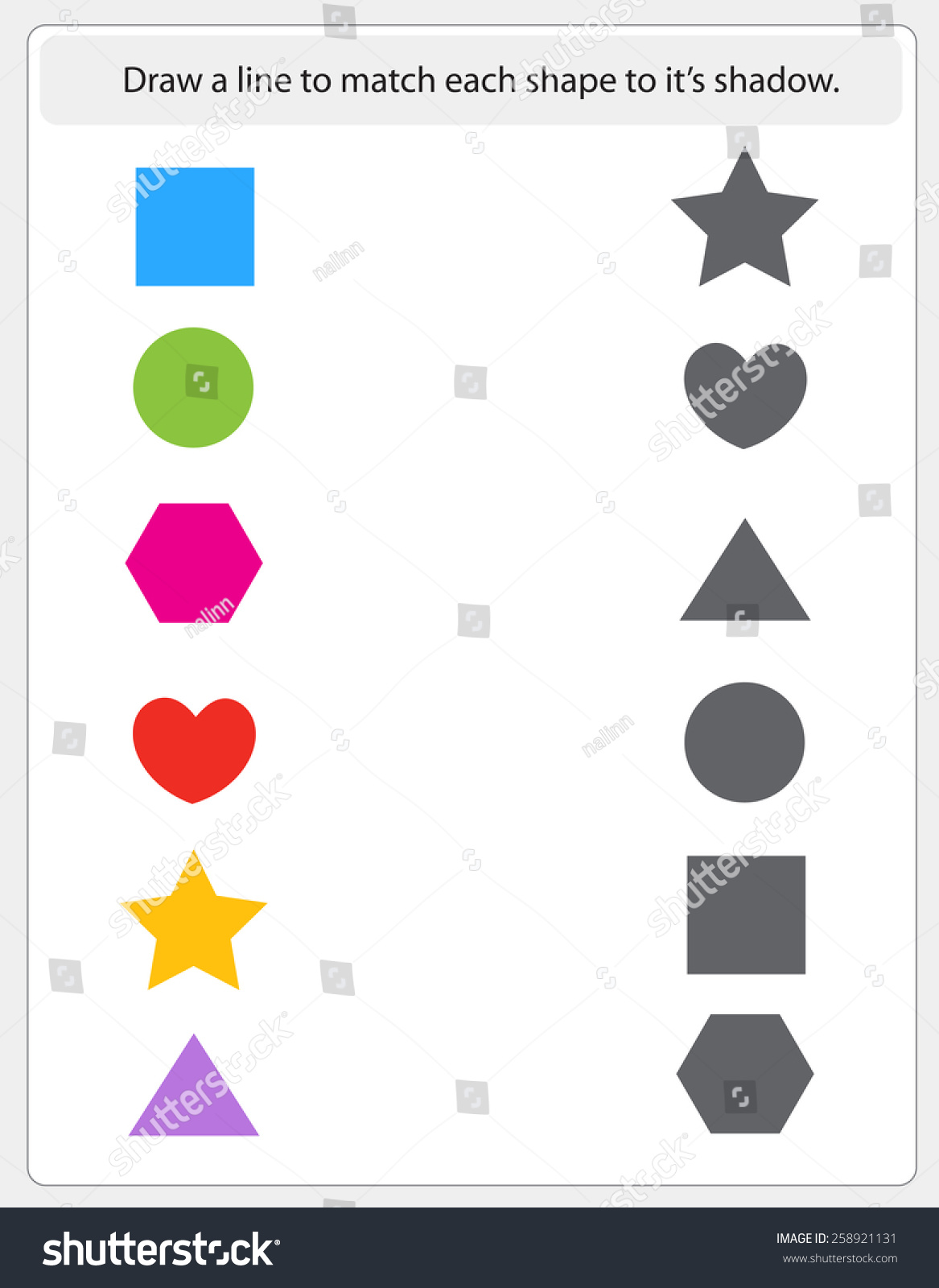 Kids Worksheet Shapes Match Shadow Printable Vector – Kids Worksheet