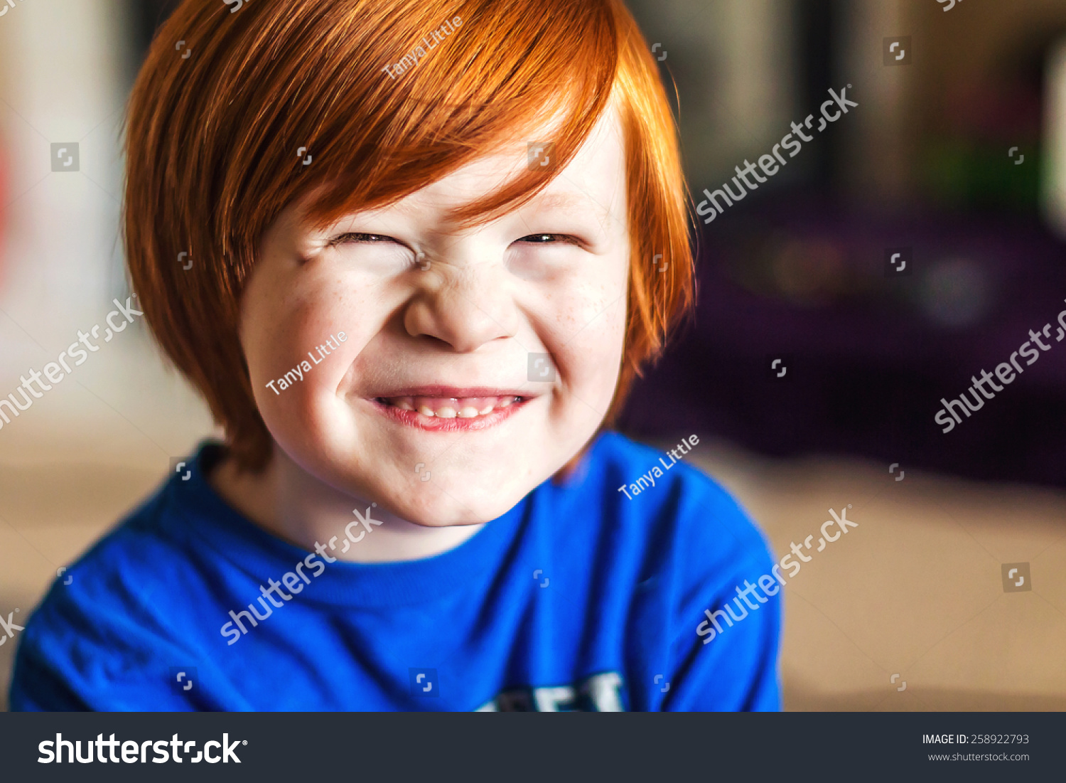 5 year old boy being silly in his home in Reno, Nevada, USA