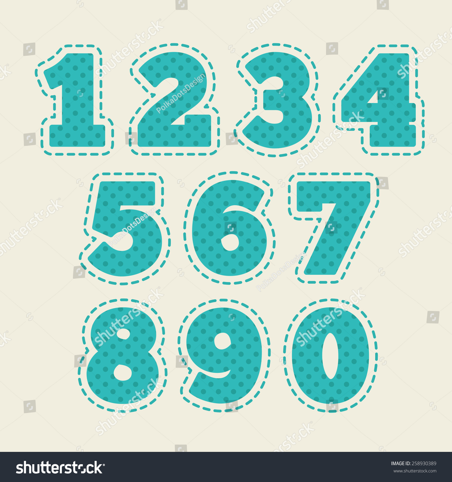 Set Numbers Baby Design Blue Cream Stock Vector (Royalty Free ...