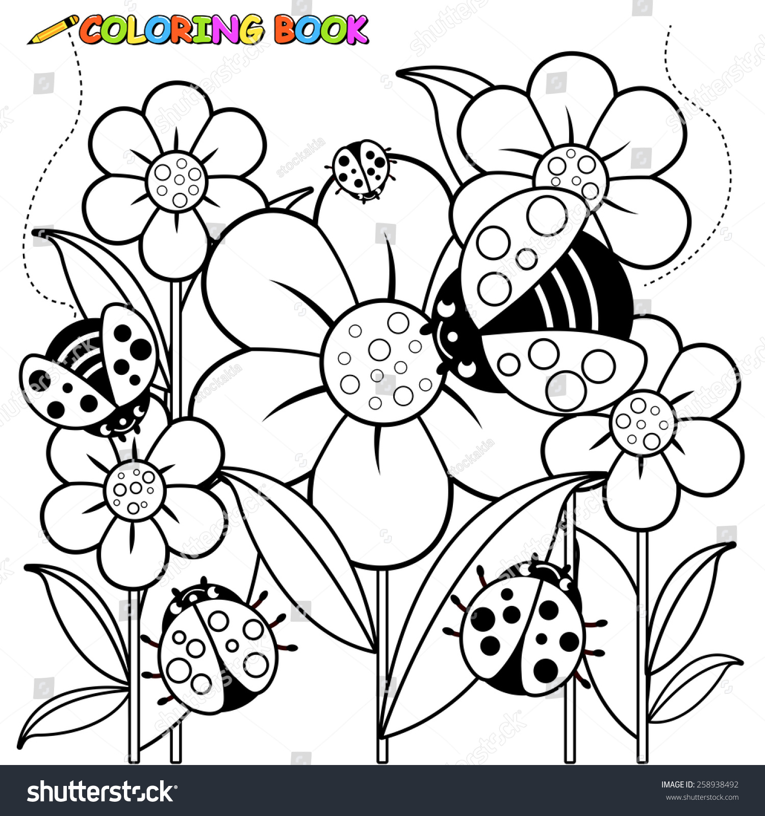Ladybugs Flowers Coloring Page Stock Vector 258938492