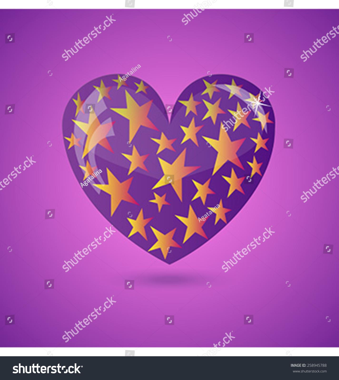 Glass purple heart gold stars against stock vector 258945788 glass purple heart with gold stars against purple background vector illustration buycottarizona