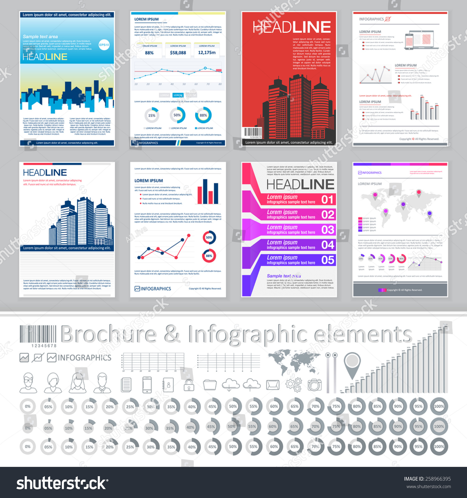 Infographics elements creative brochure template design for Infographic brochure template