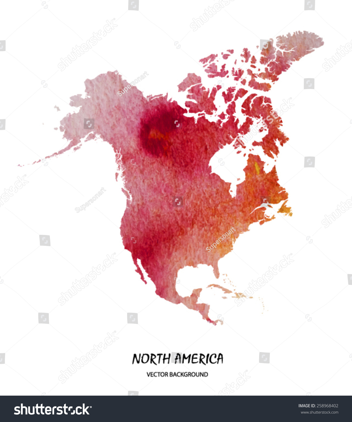 Hand Drawn Watercolor Map North America Stock Vector - United states watercolor map