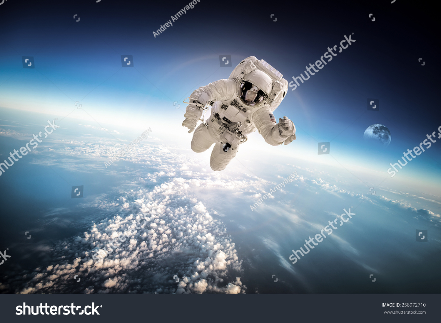 Astronaut in outer space against the backdrop of the for Outer space elements