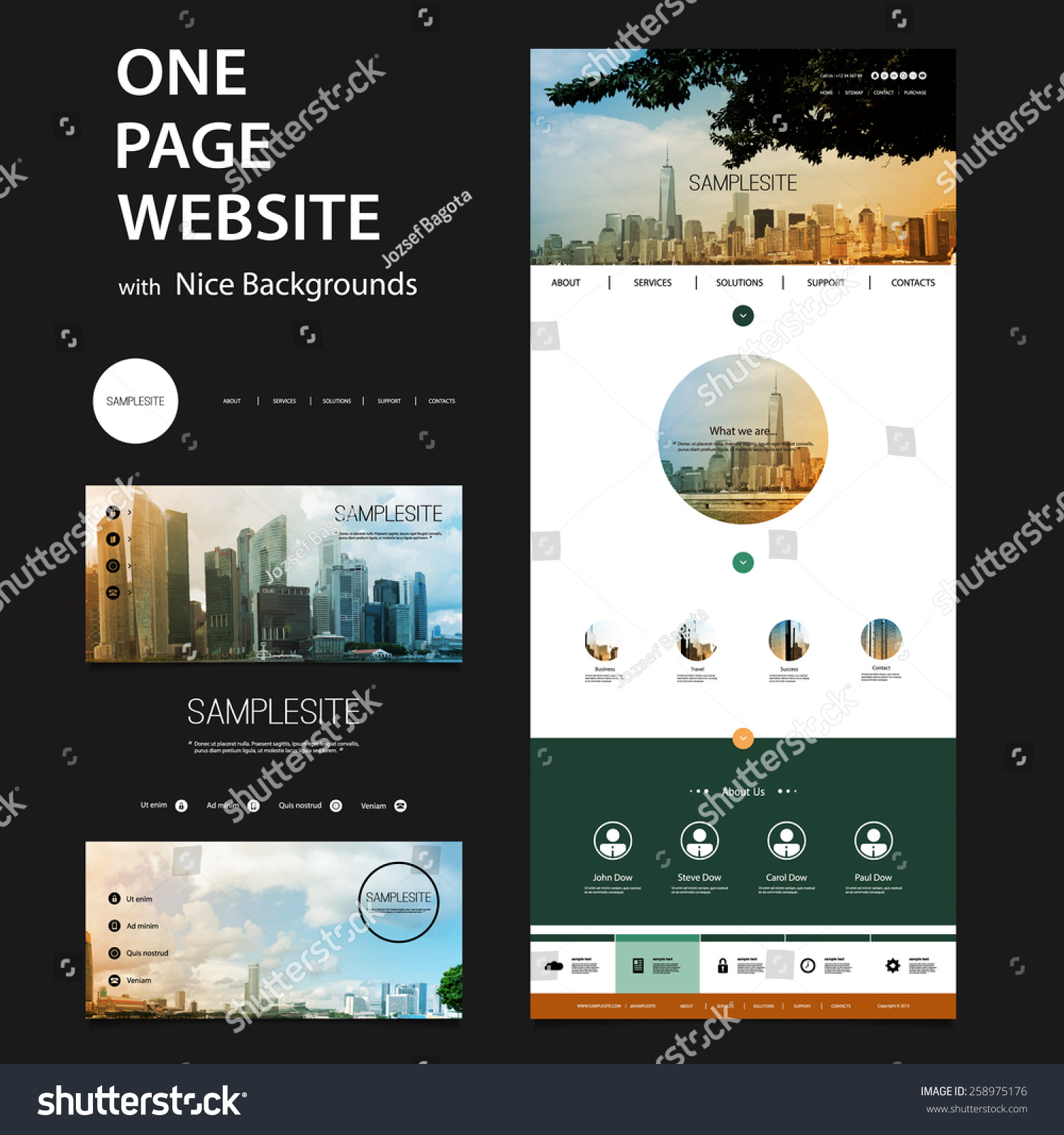 one page website template and different header designs stock vector