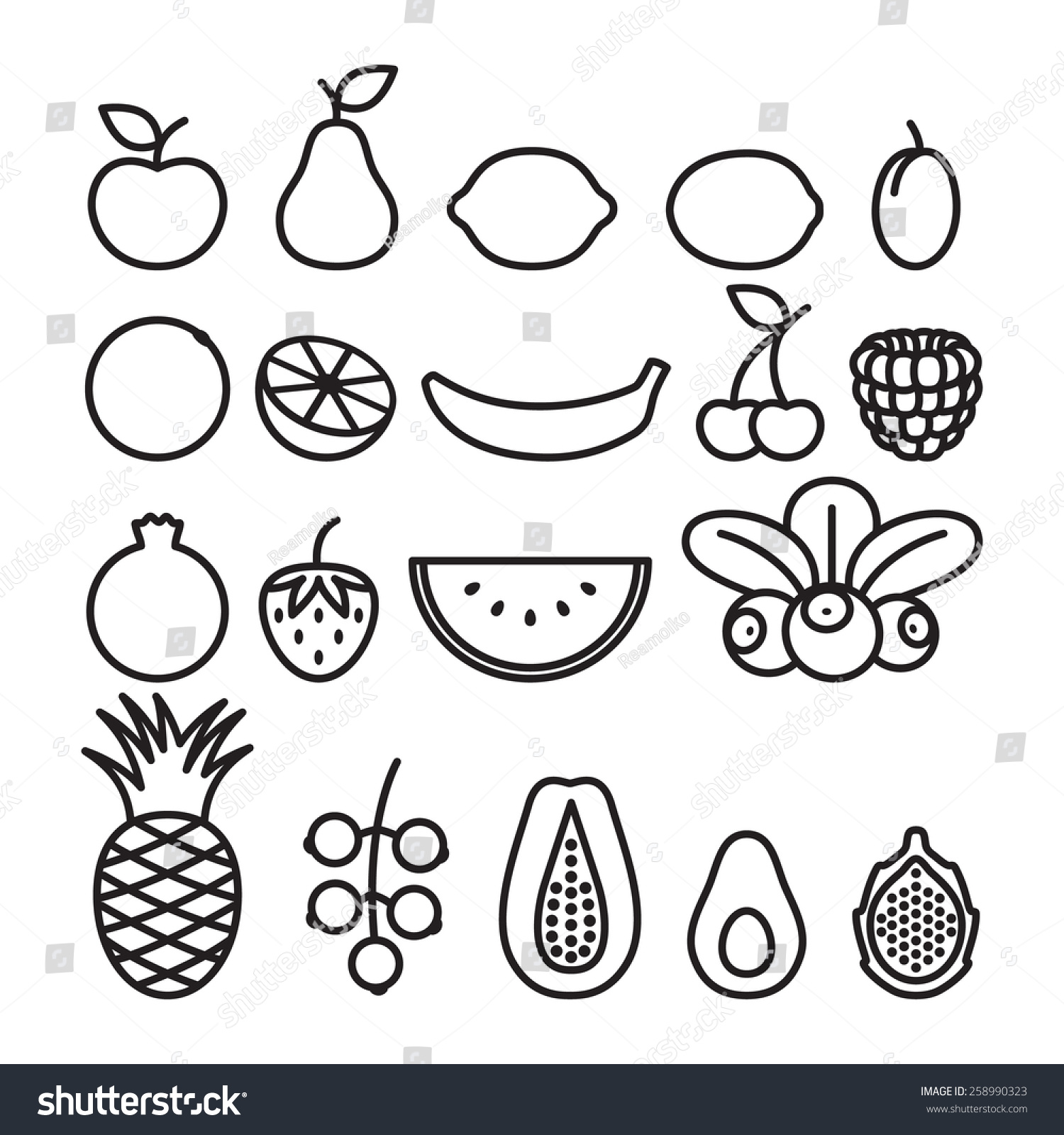 Line Art Fruits : Black white fruits berries line art stock vector