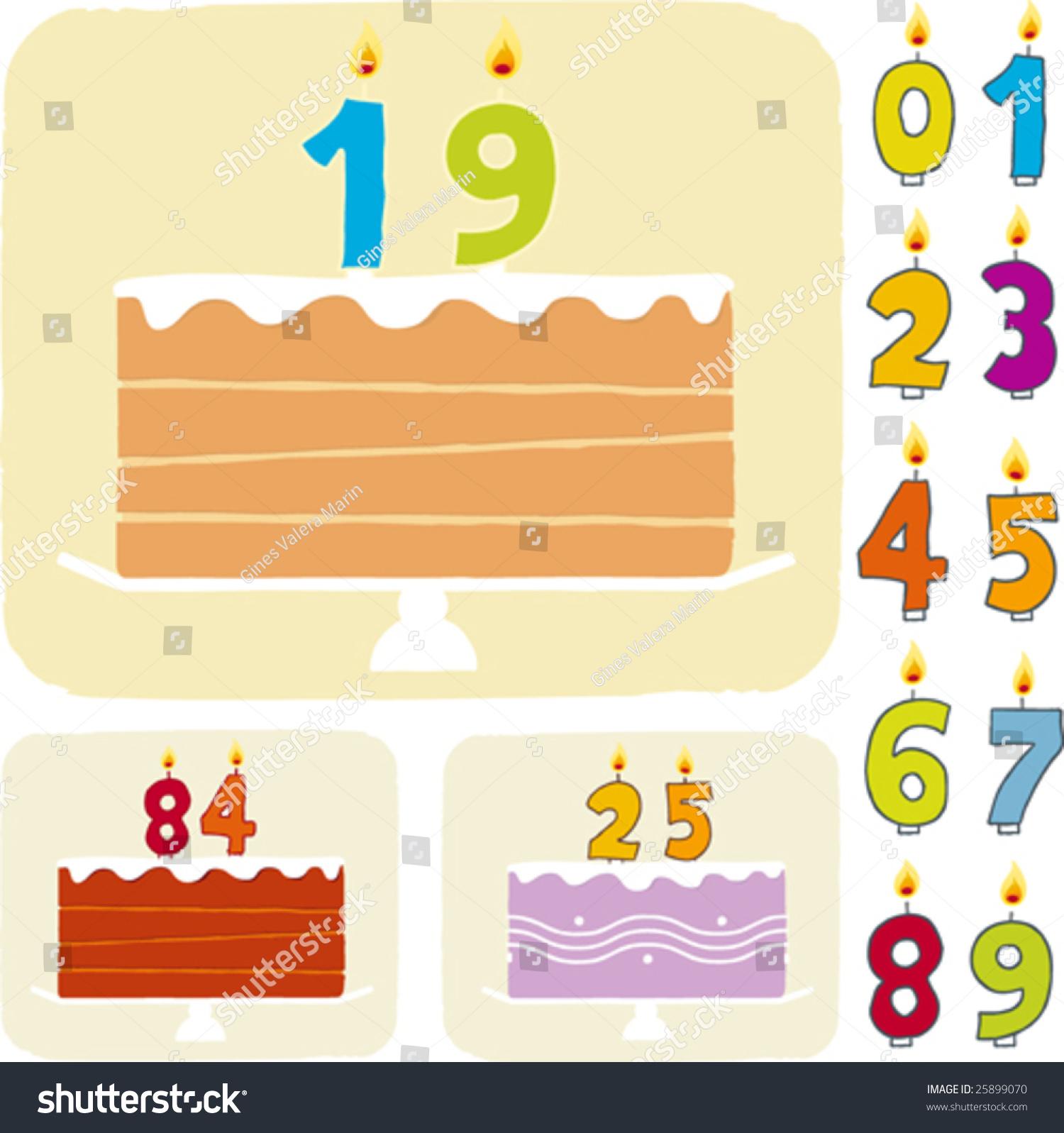 Vector Illustration Birthday Cake Editable Lines Stock Vector