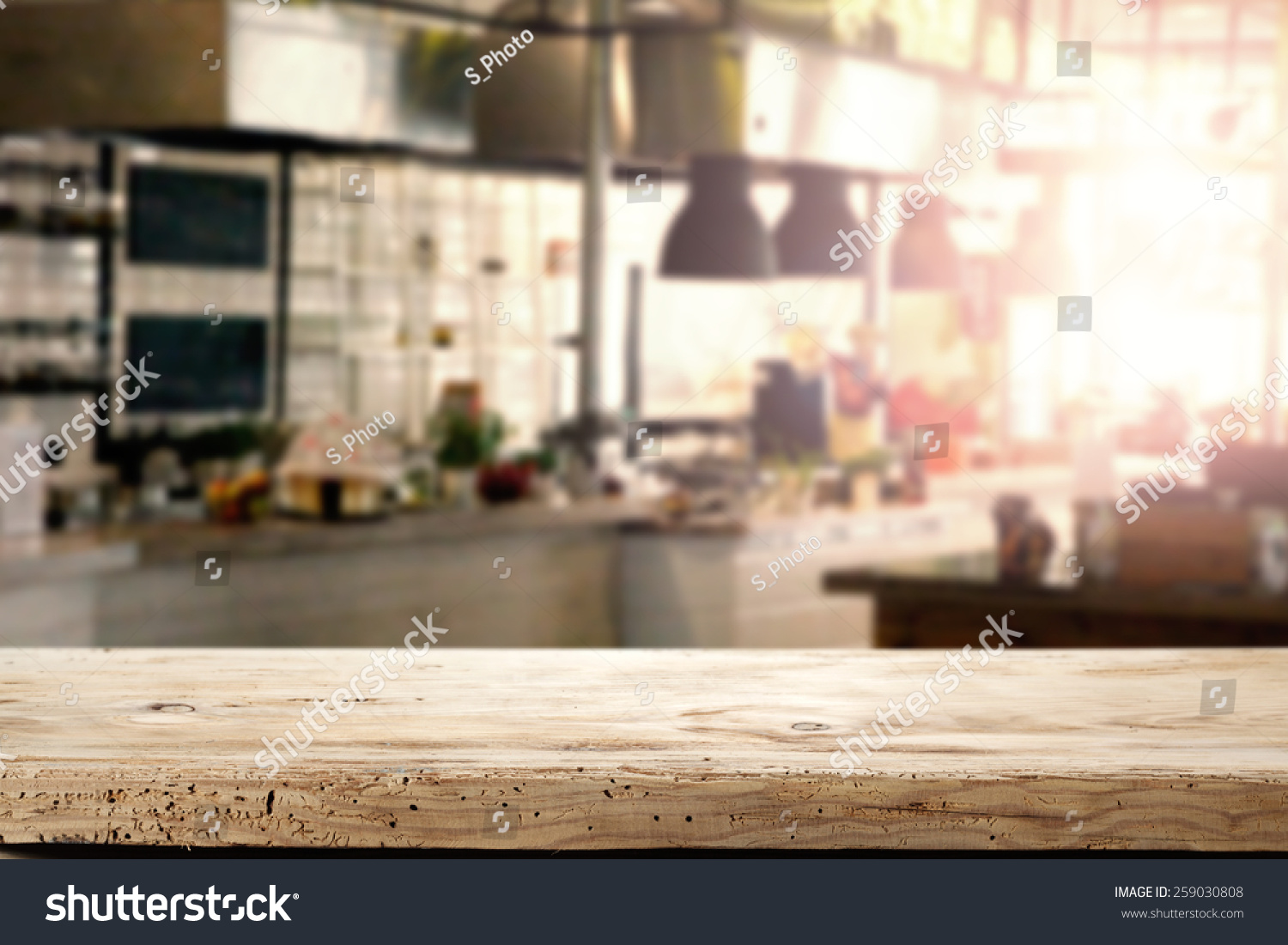 Restaurant Kitchen Furniture Interior Kitchen Restaurant Napkin Desk Space Stock Photo