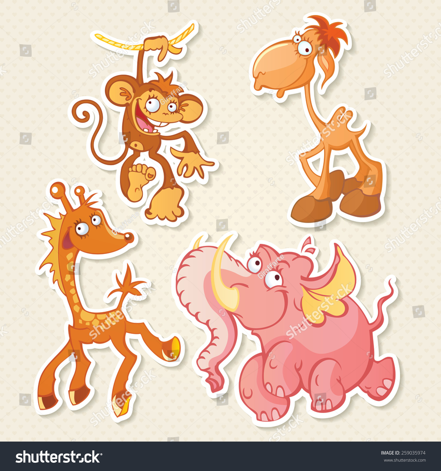 Vector animals cartoon characters cool sticker designs