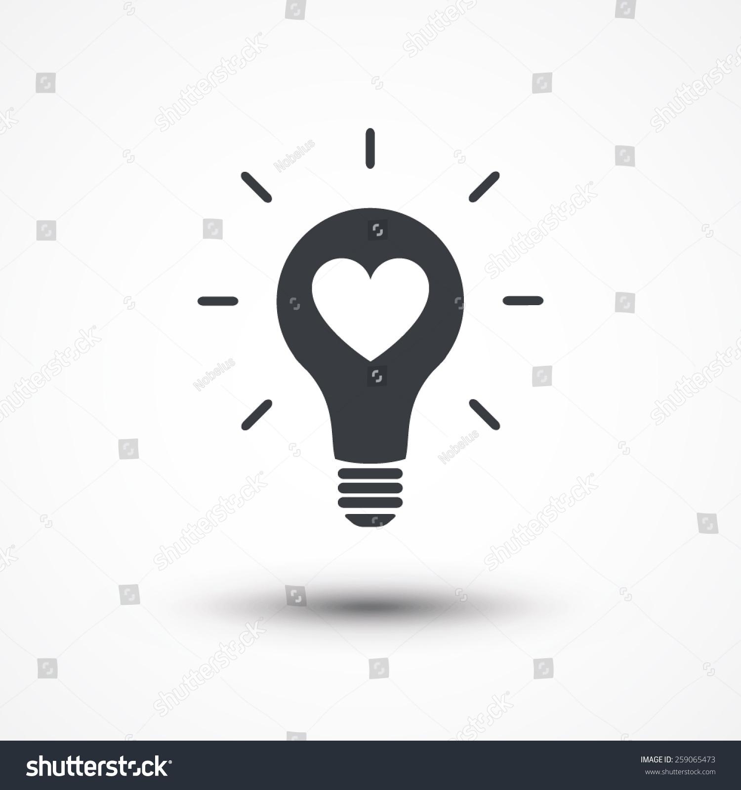 Heart Shape Light Bulb Abstract Icon Stock-Vektorgrafik 259065473 ...