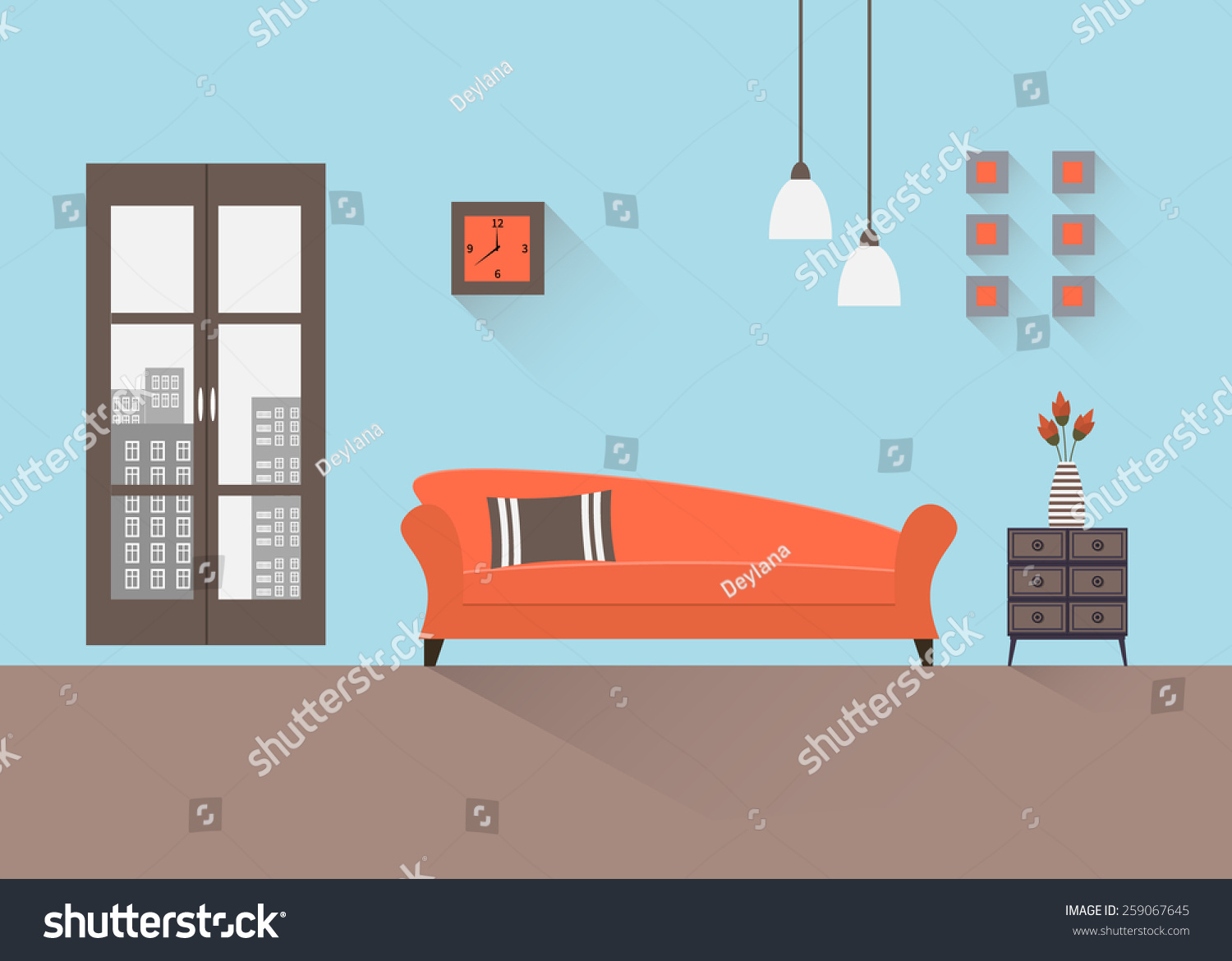 Home interior interior design living room stock vector for Room design vector
