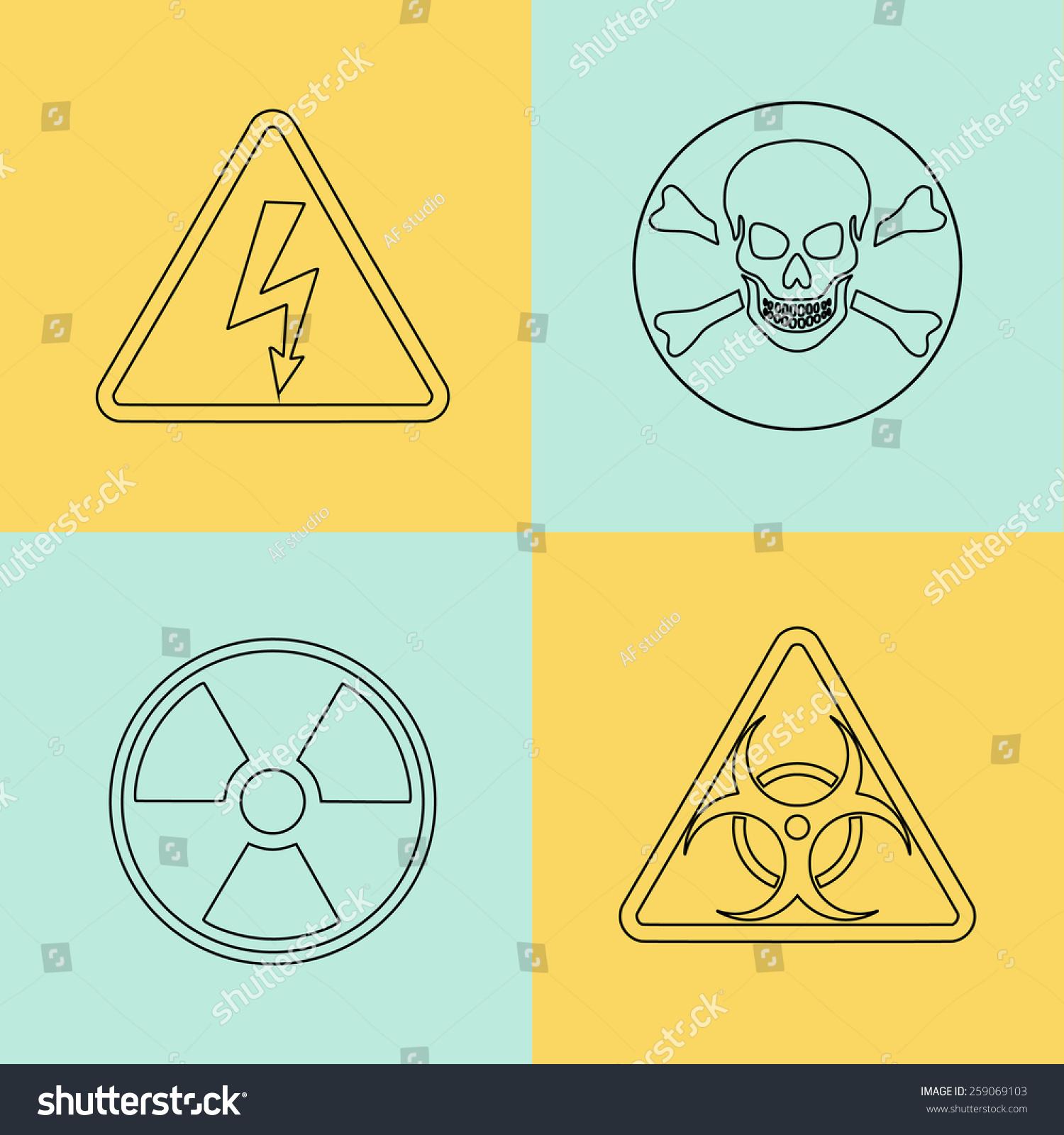 Royalty Free Flat Thin Line Warning Signs Symbols 259069103