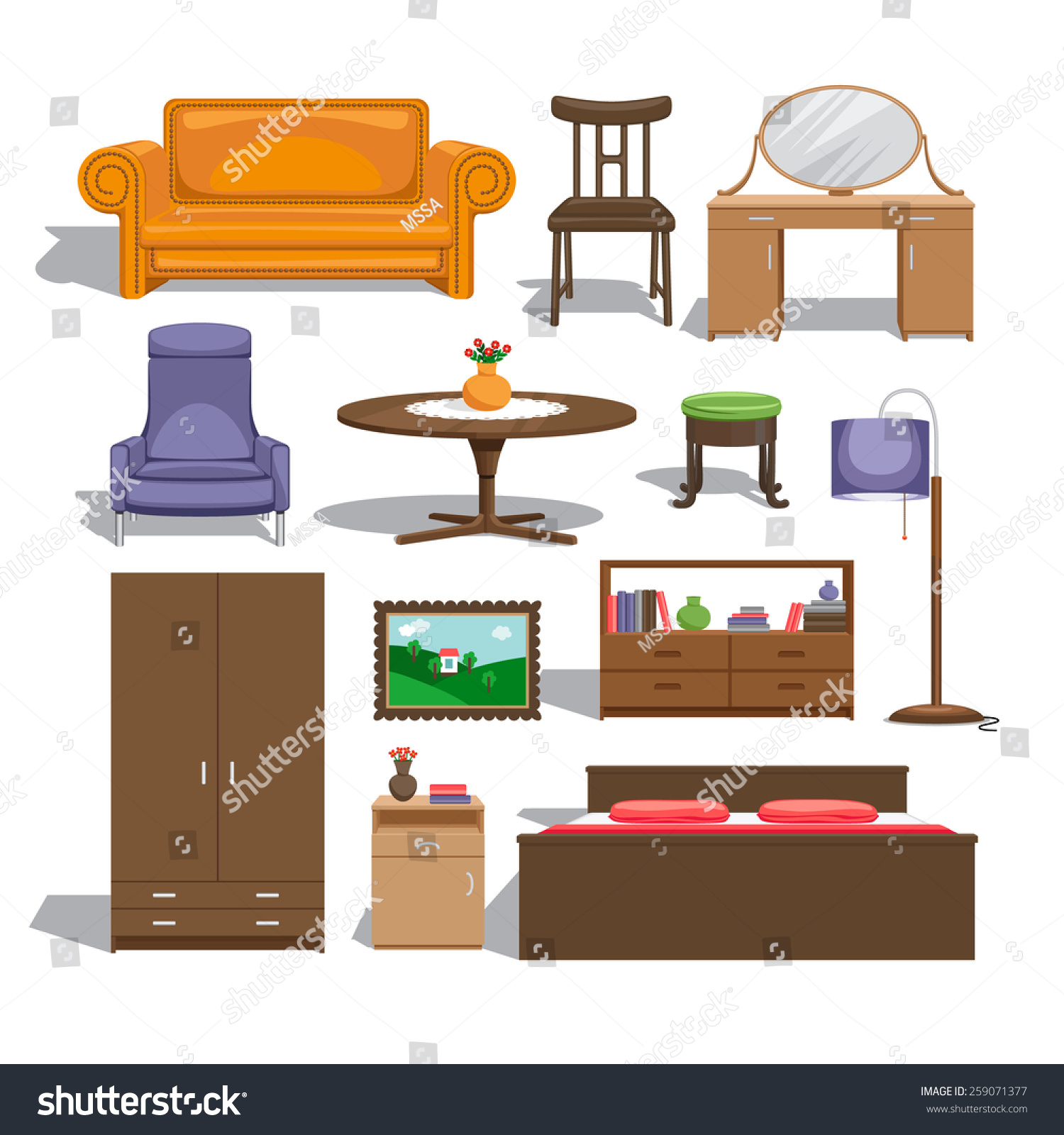 Furniture Bedroom Lamp Table Chair Picture Stock Illustration