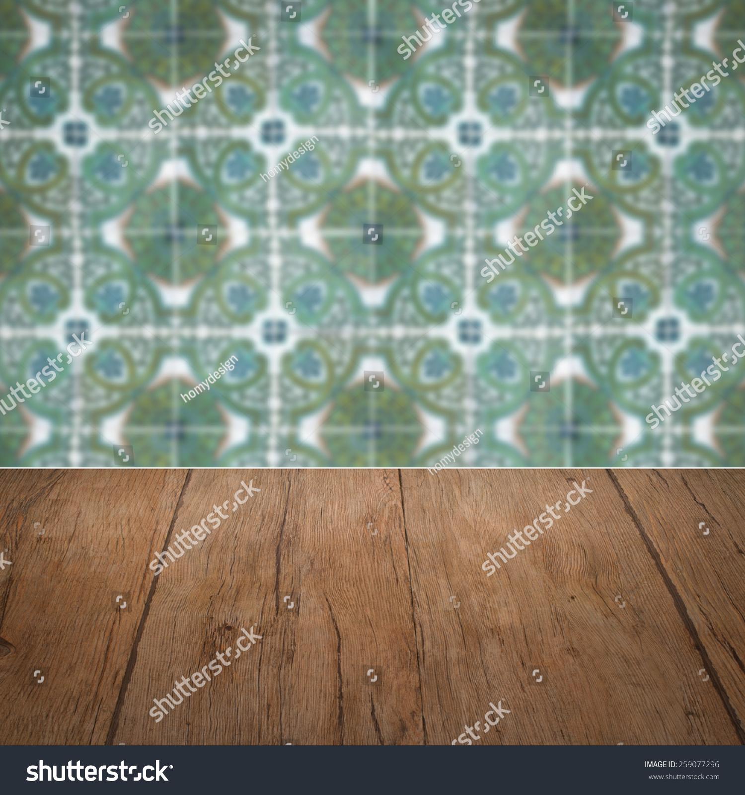 Empty Wood Table Top Blur Vintage Stock Illustration 259077296 ...