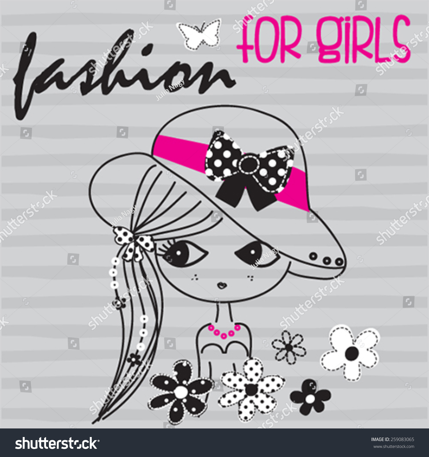 Design t shirt girl - Cute Girl With Flowers On Striped Background T Shirt Design Vector Illustration Stock Vector