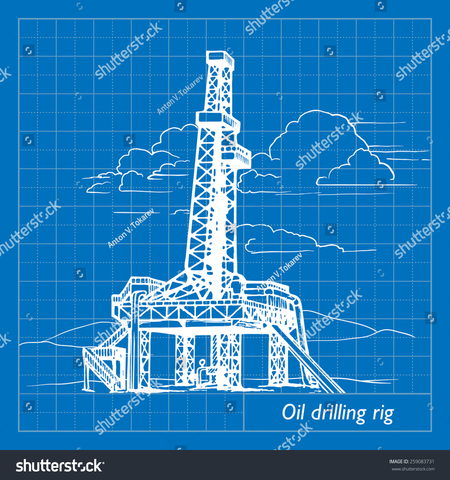 oil drill bit illustration. land oil drilling complex also called rig. eps10 vector illustration imitating blueprint style scribbling drill bit