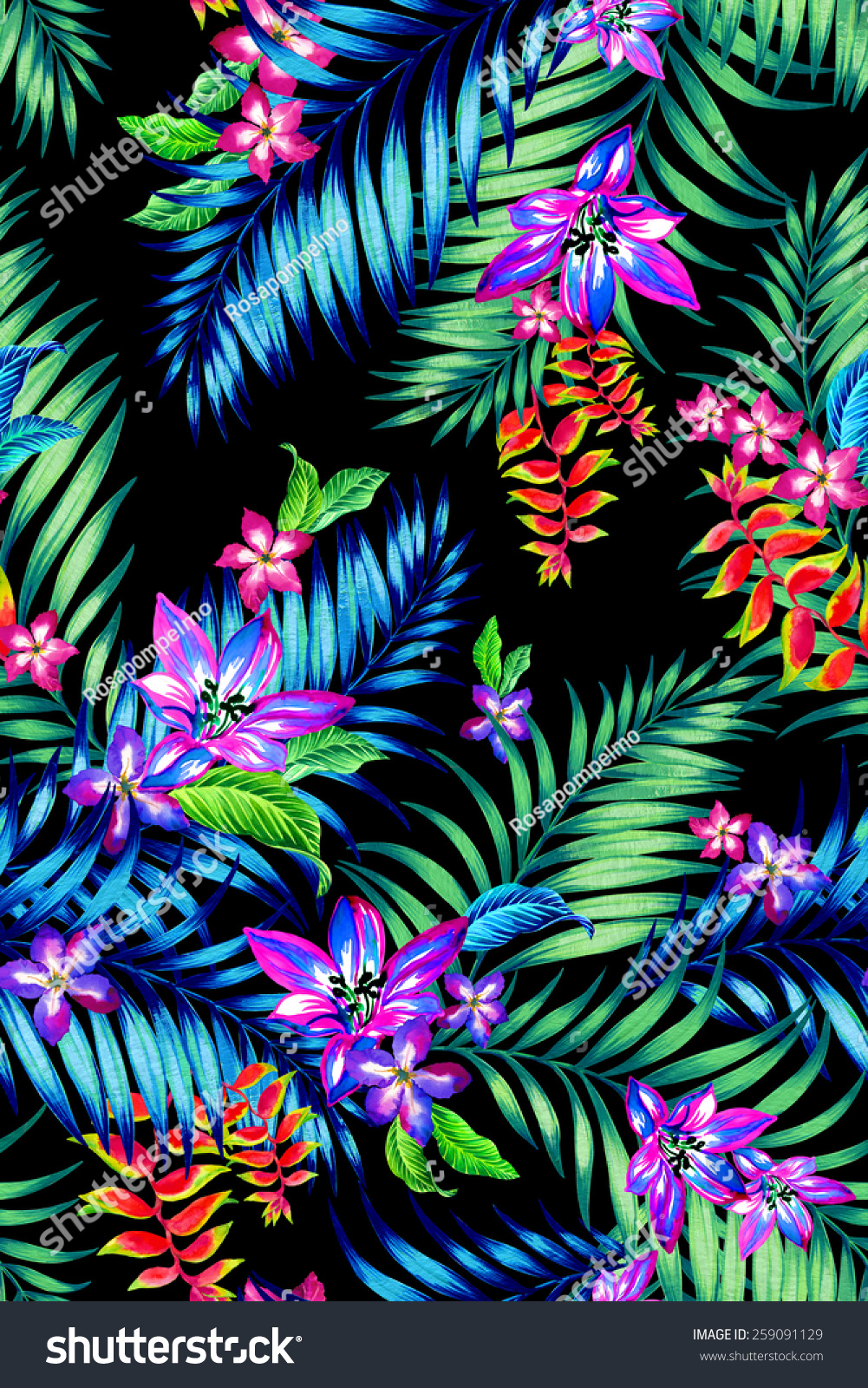 Seamless Floral Tropical Print Midnight Exotic Flowers