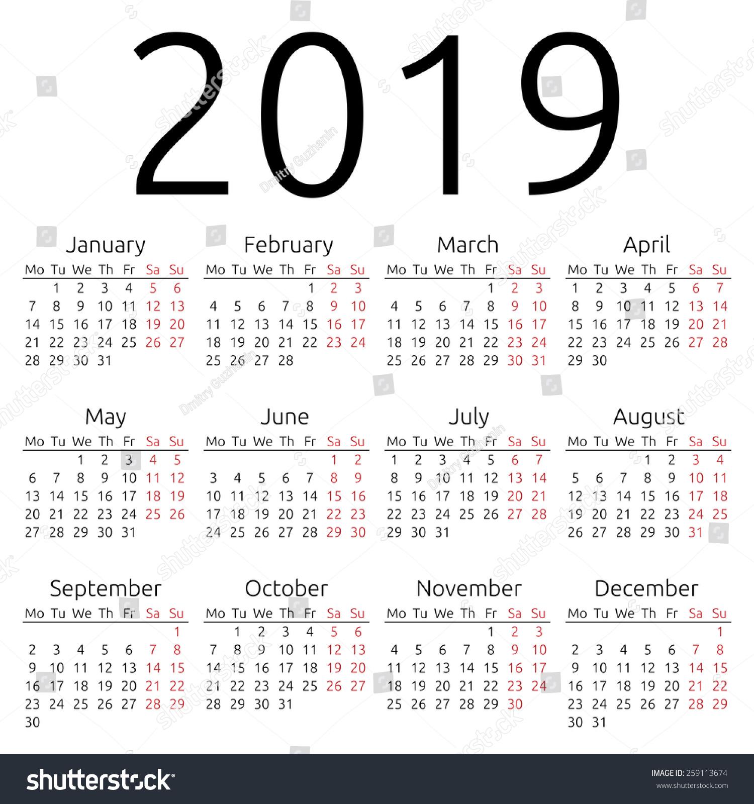 simple 2019 year calendar  eps 8 vector