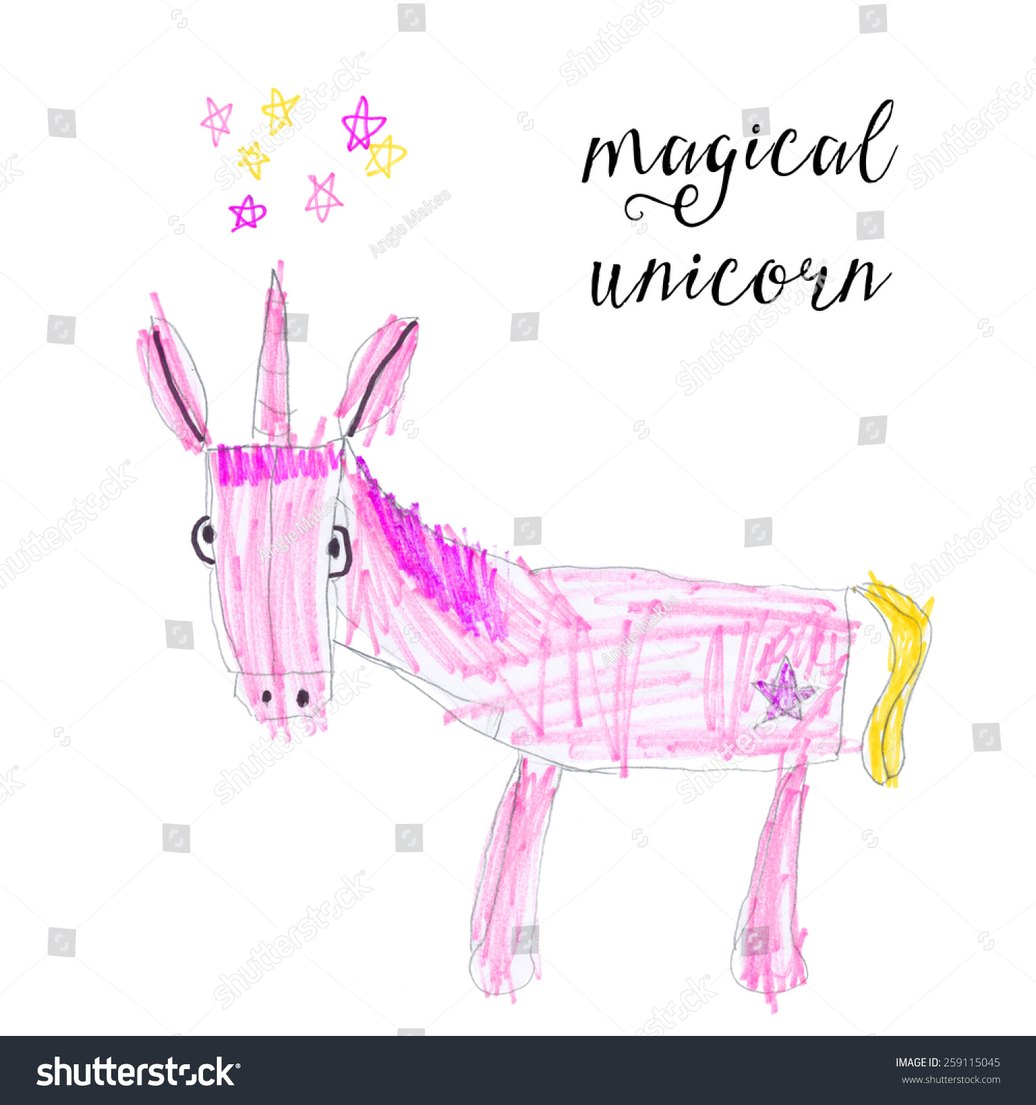 Uncategorized Childrens Drawing childrens drawing pink unicorn stars stock illustration of a with marker drawing