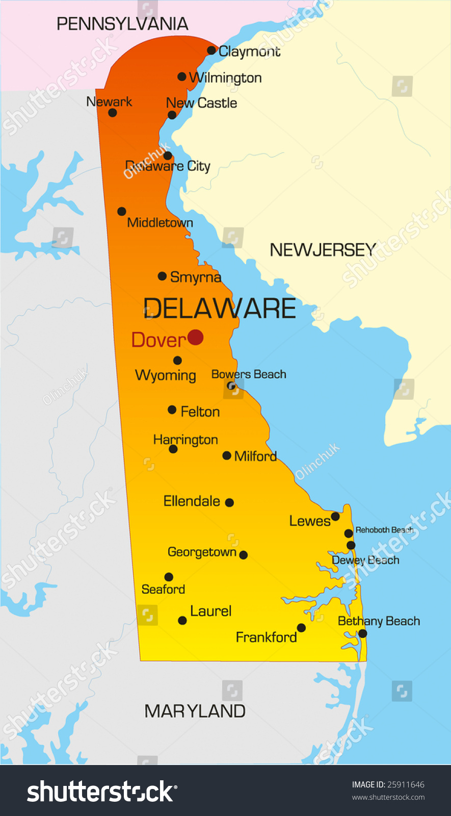 Vector Color Map Delaware State Usa Stock Vector 25911646 ...