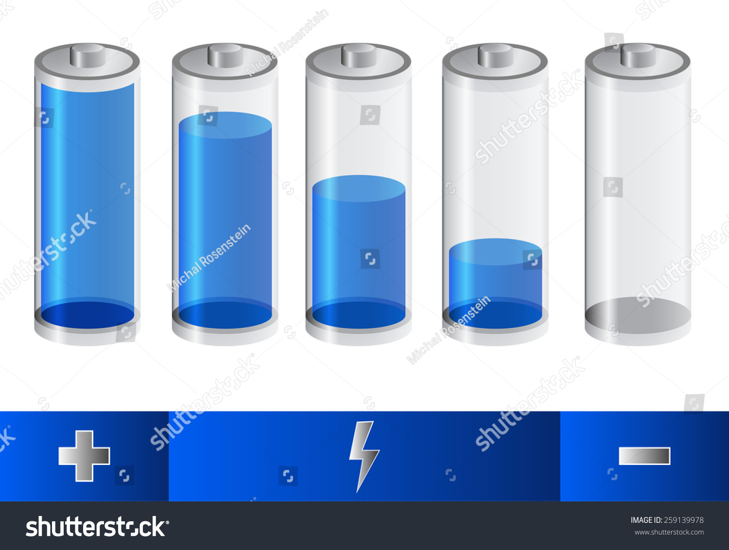Five Blue Battery Symbols Indicate Level Stock Vector 259139978 ...