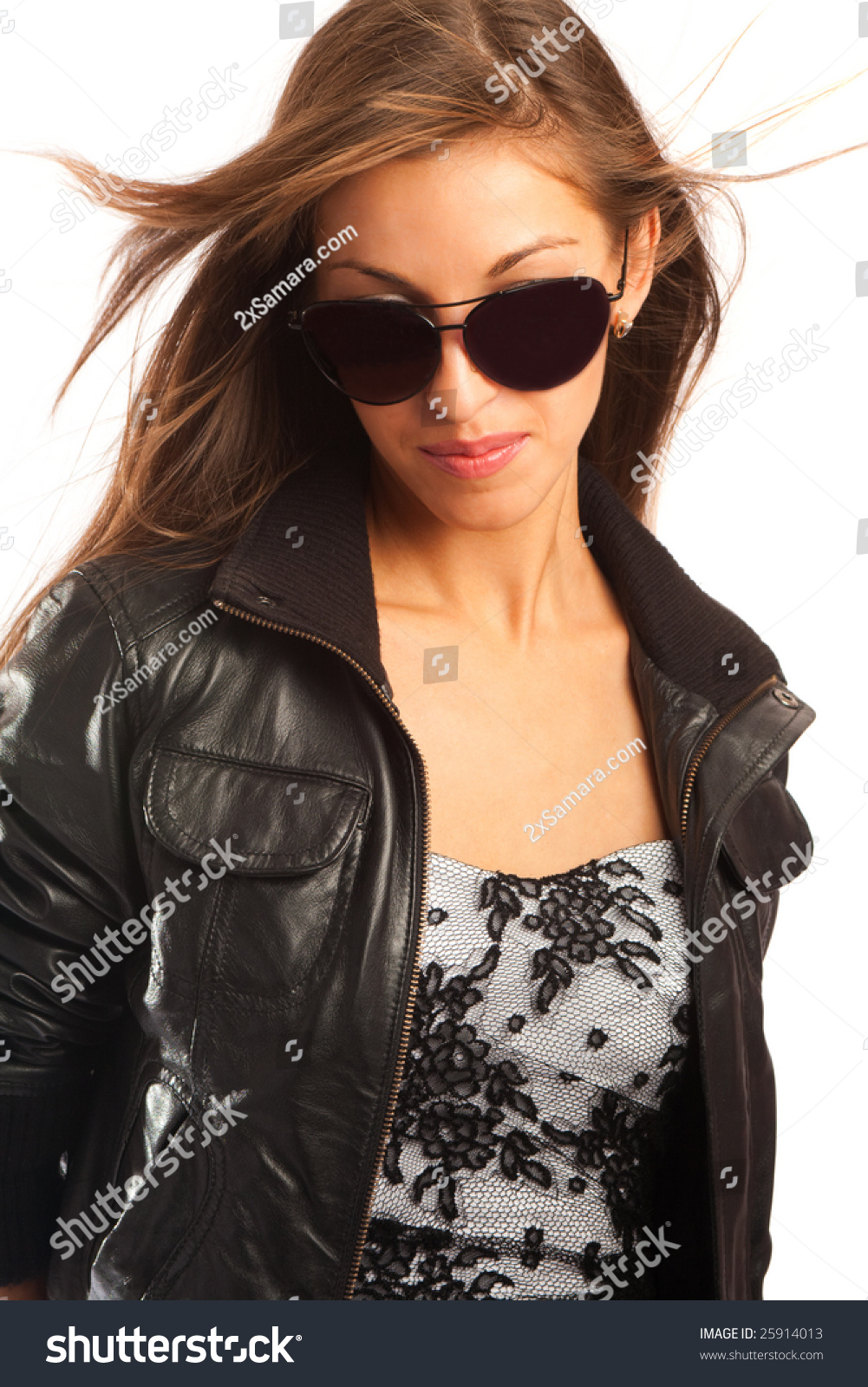 Leather jacket black glasses
