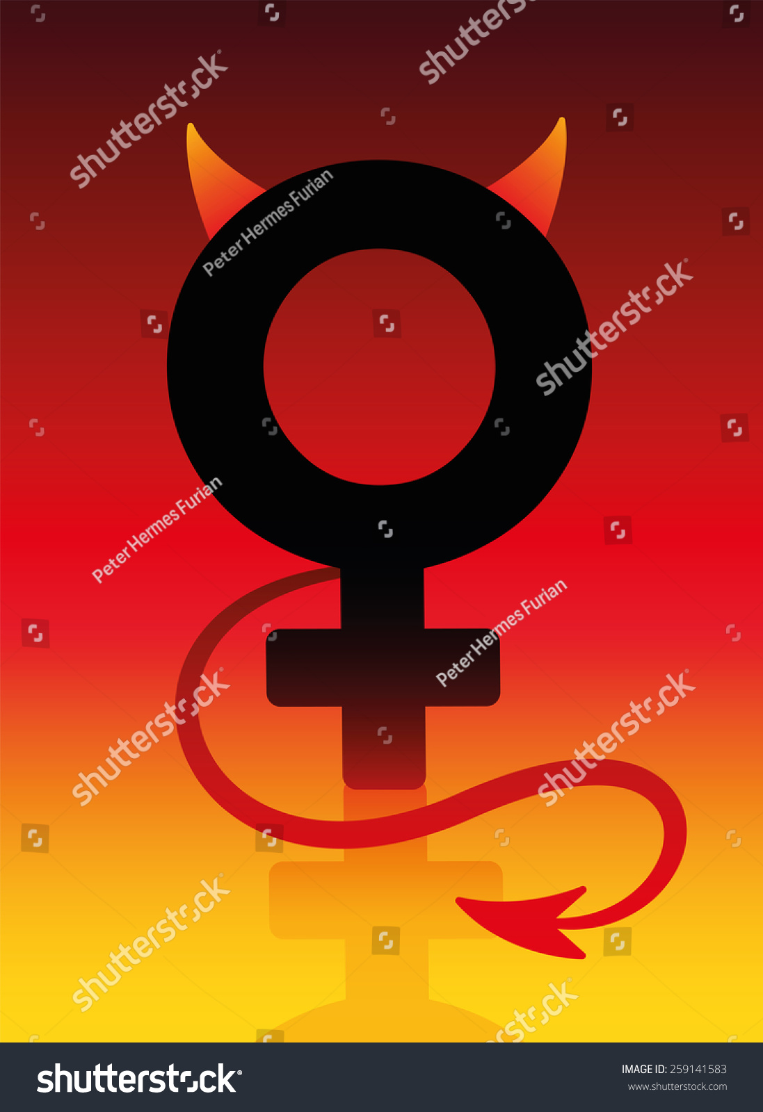 Female Devil Sign Tails Horns On Stock Vector Royalty Free
