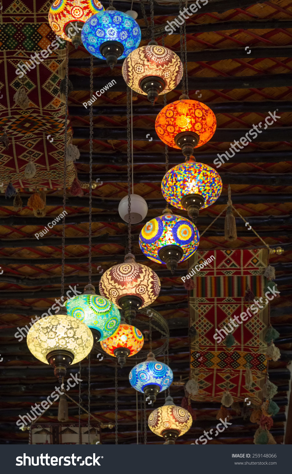 Doha qatar march 8 2015 lanterns strung from the ceiling illuminate the