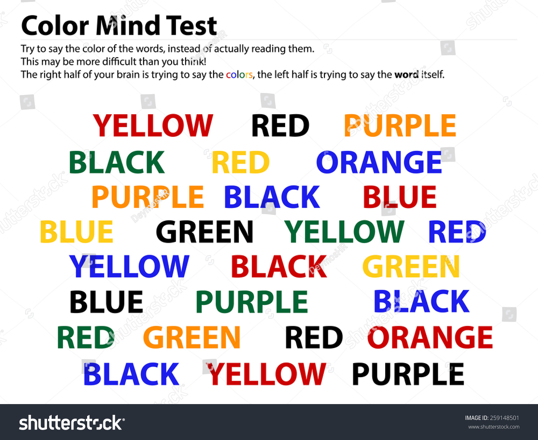 Color Mind Test Reading Words Easier Stock Vector 259148501 ...
