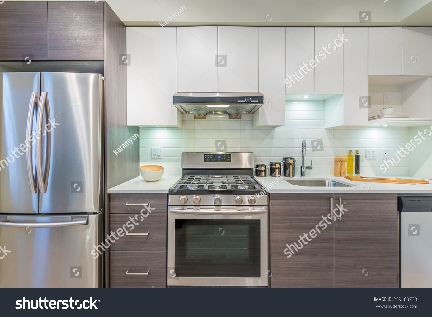 modern bright clean kitchen interior stainless stock photo 259183730 shutterstock. Black Bedroom Furniture Sets. Home Design Ideas