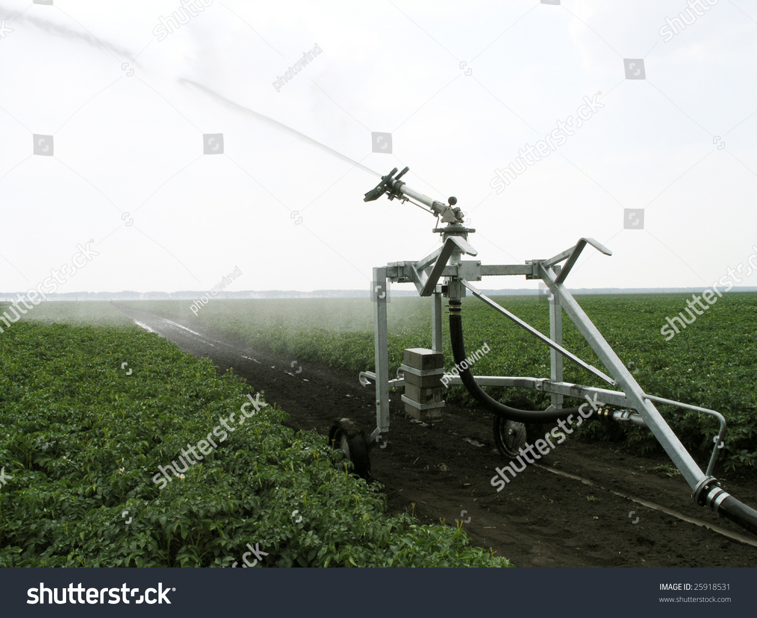 irrigation installation watering machine in the field stock photo 25918531