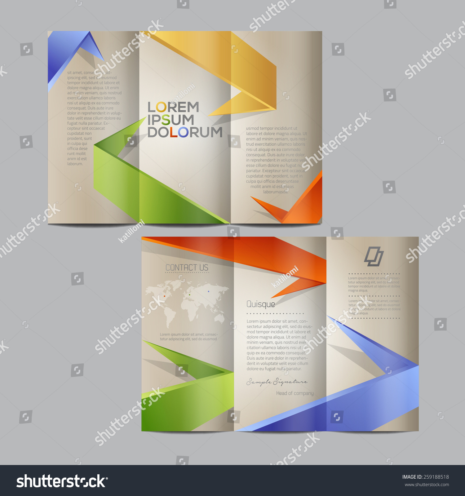 Colorful brochure template design stock vector 259188518 for Colorful brochure design