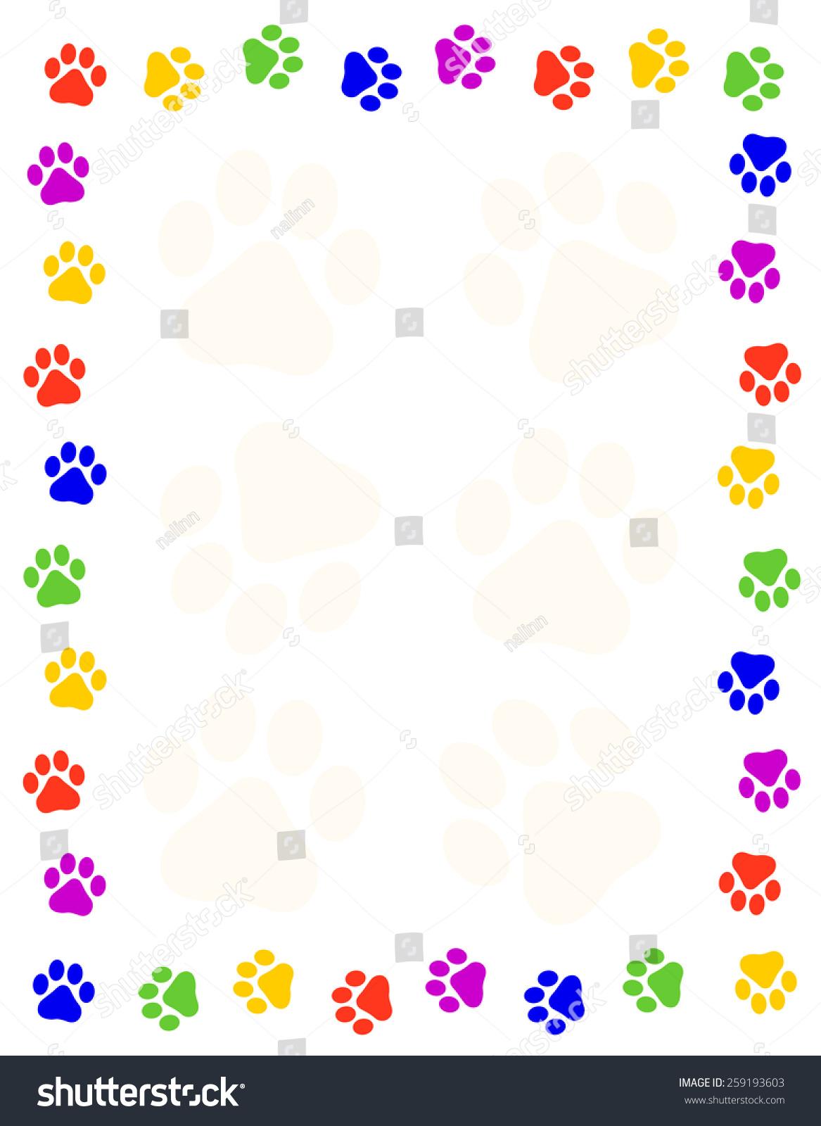 Colorful Paw Prints Frame / Border Stock Photo 259193603 ...