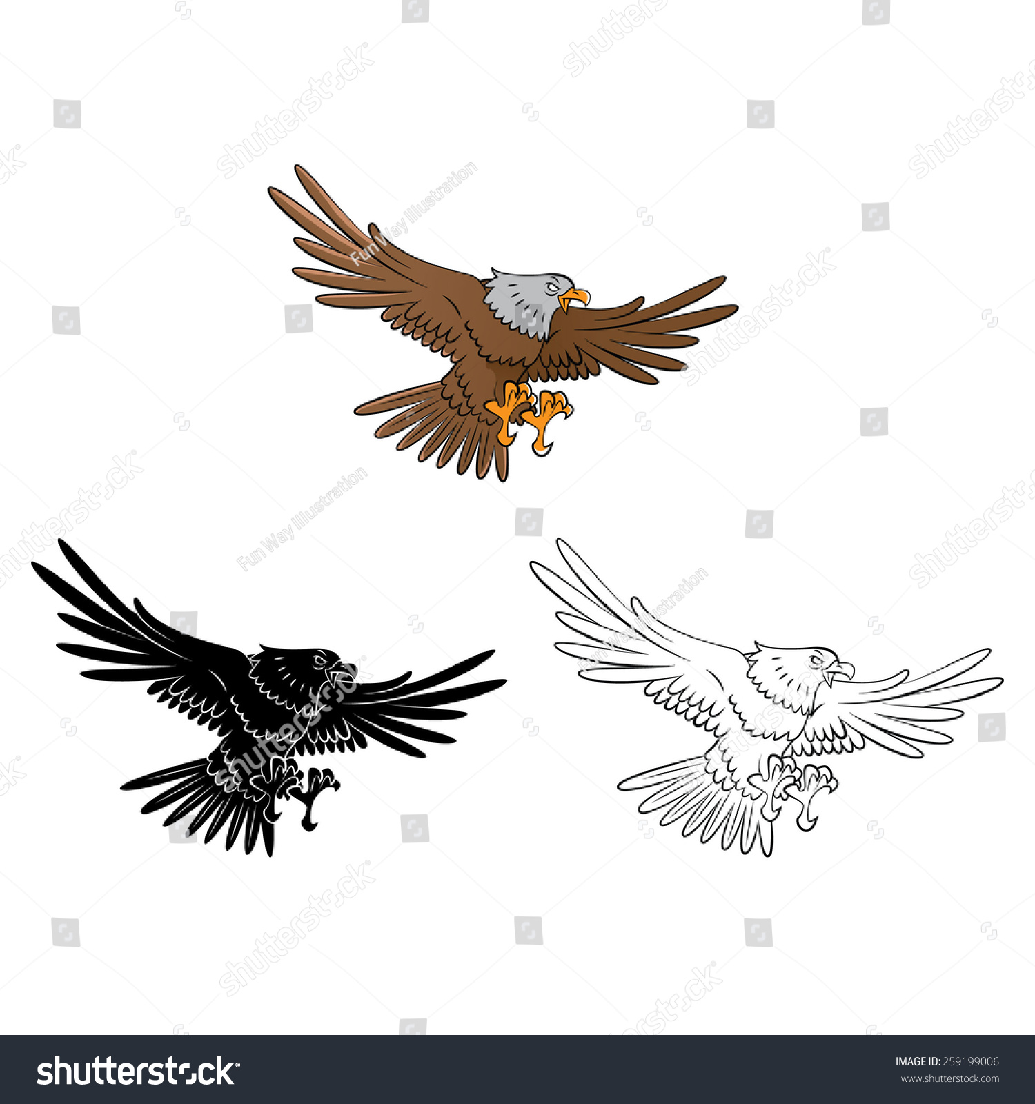 coloring book eagle cartoon character vector stock vector