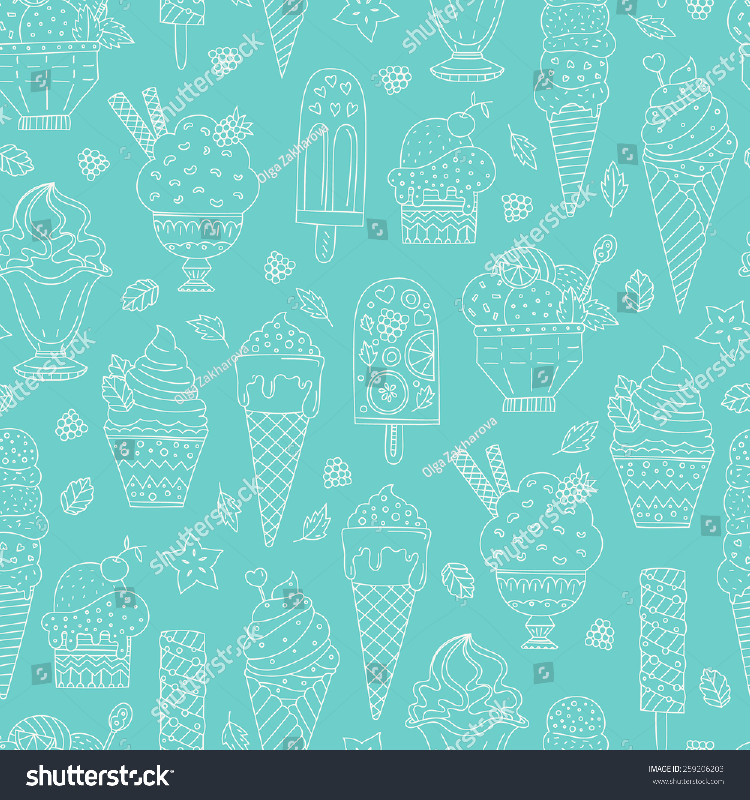 Seamless Pattern With Hand Drawn Watercolor Ice Cream: Cute Hand Drawn Seamless Pattern Different Stock Vector