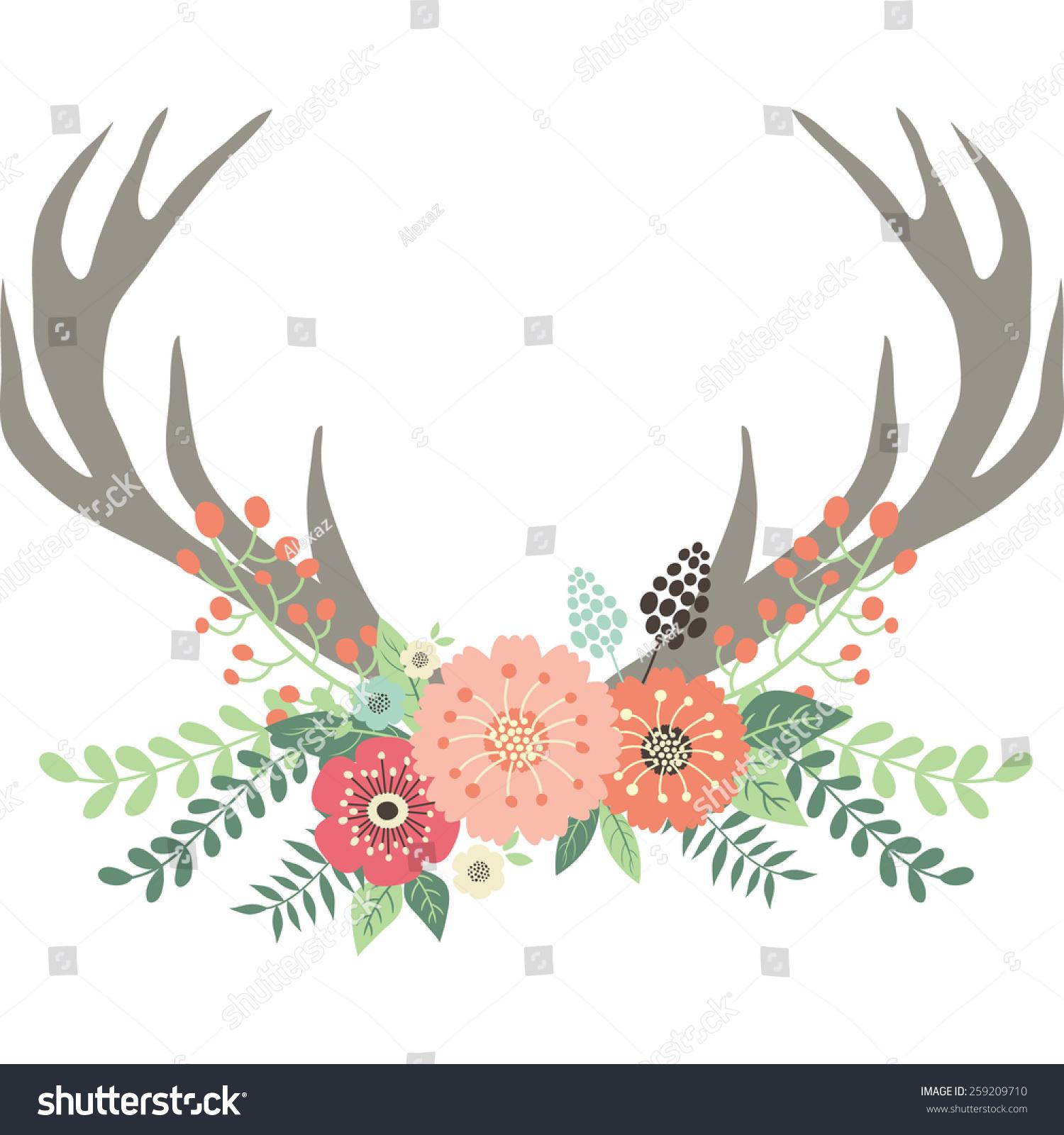 Deer Antlers Flowers Stock Vector 259209710 - Shutterstock
