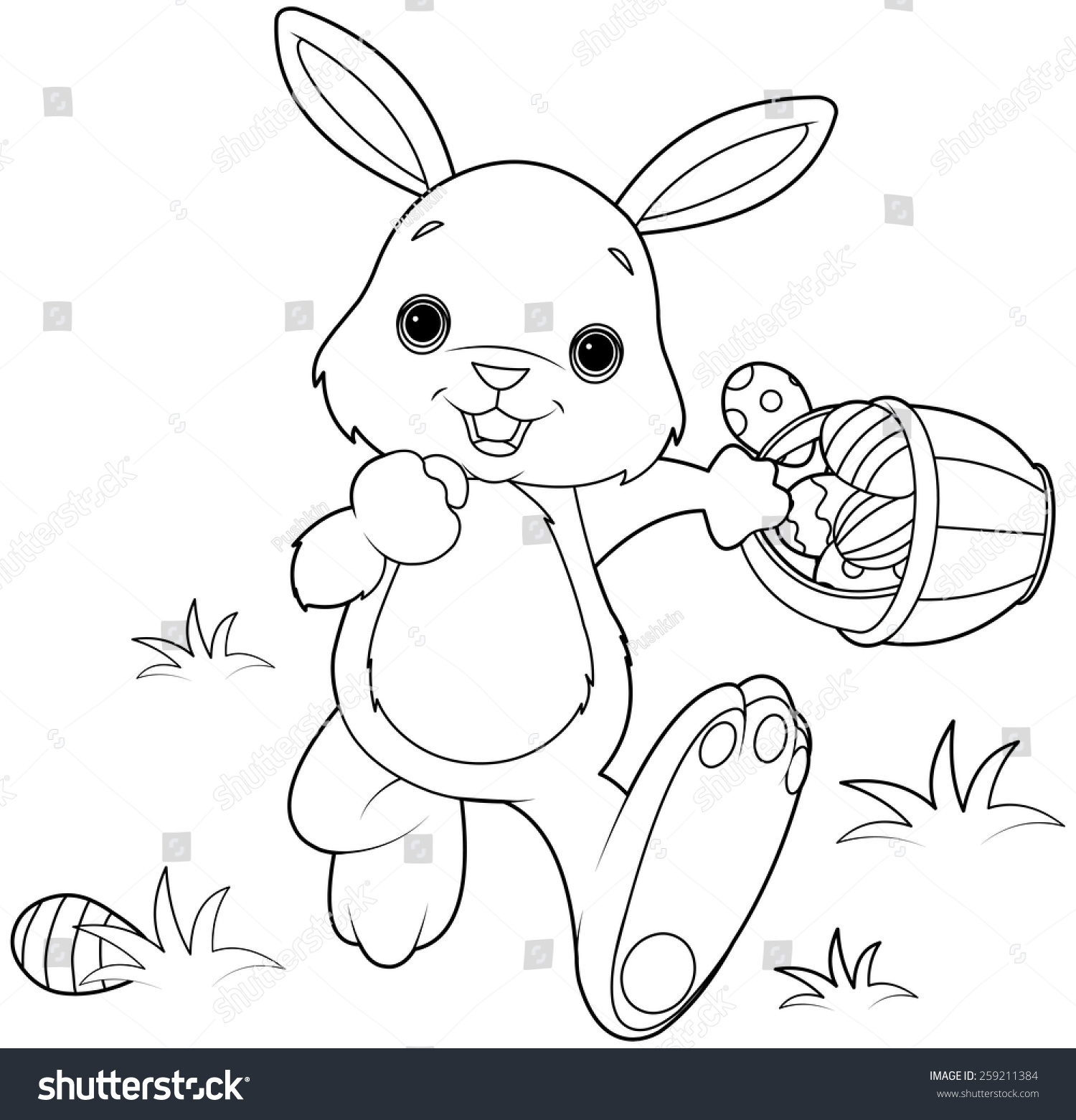 Coloring Page Easter Bunny Hiding Eggs Stock Illustration