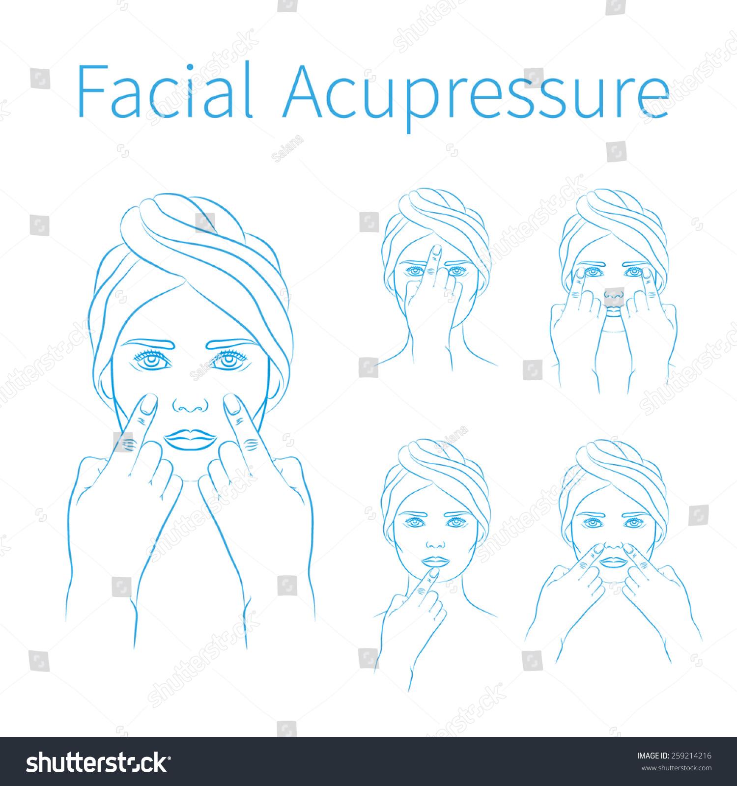 Vector Illustration: Set Of Hand Drawn Blue Schemes Facial ...