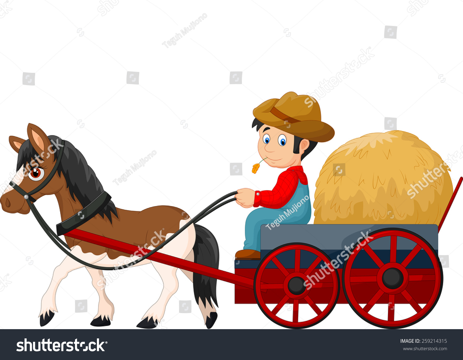 Hay Farmer Tractor Cartoon : Cartoon farmer hay cart stock vector shutterstock