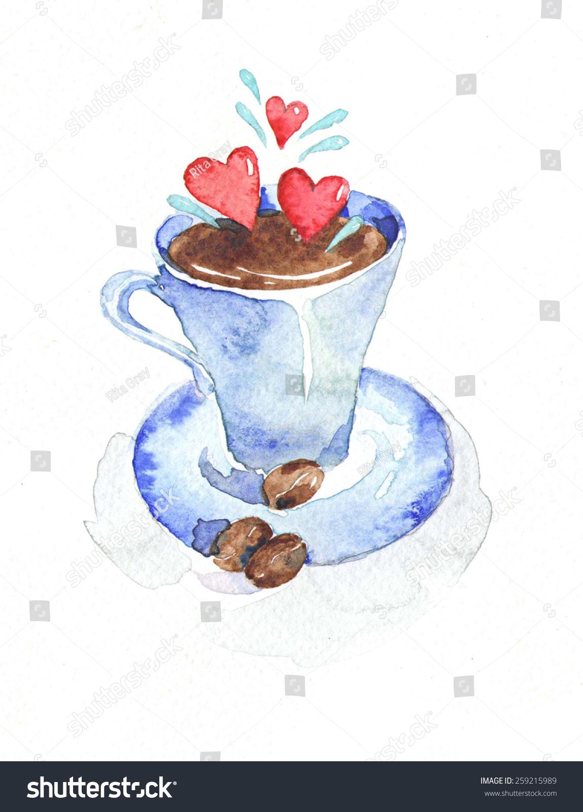Coffee watercolor stock illustration 259215989 shutterstock for Coffee watercolor